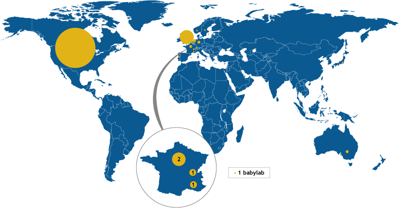 Carte mondiale des babylabs